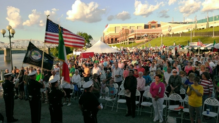 Color Guard and Crowd at Italianfest 2013 Opening Ceremony